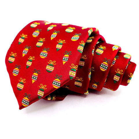 Noel Christmas Necktie Classic Width Red with Christmas Ball Pattern