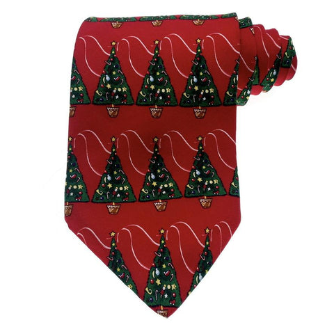 Christmas Tie Hallmark Silk Red Christmas Tree Pattern