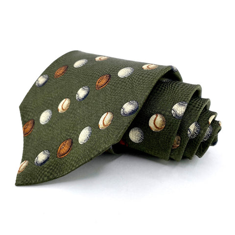 Structure Tie Green Sports Pattern Silk