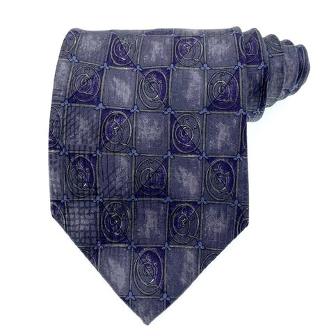 Barrington Tie Silk Teal/Purple Geometric Pattern