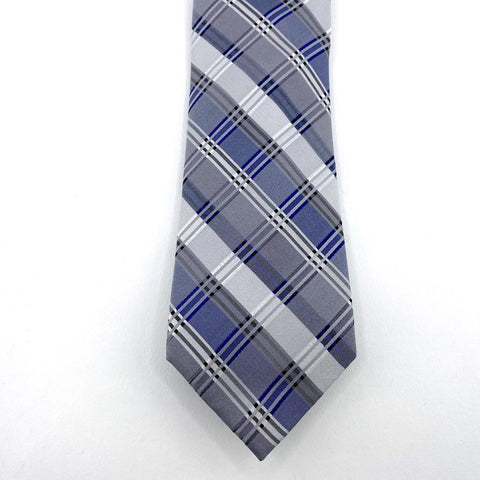 Claiborne Tie Grey/Blue Silk Madres Pattern