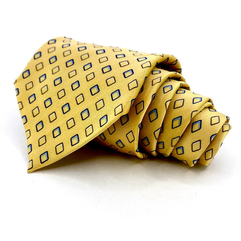 NEO Bill Blass Tie Yellow Silk Geometric Pattern
