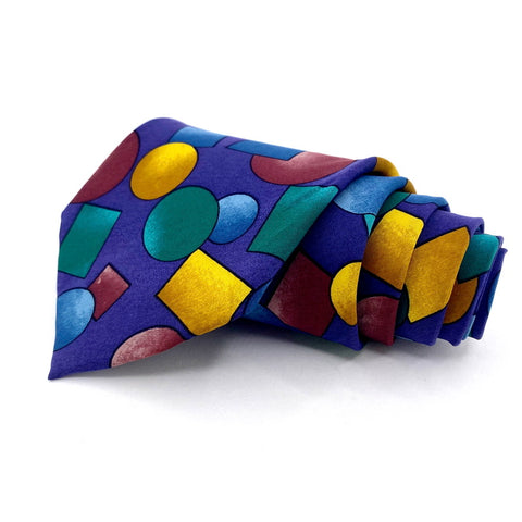 Picasso Tie Hand Made Silk Fushia Geometric Pattern