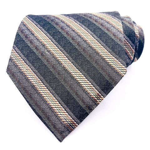 Van Heusen Tie Silk Gold Striped Pattern