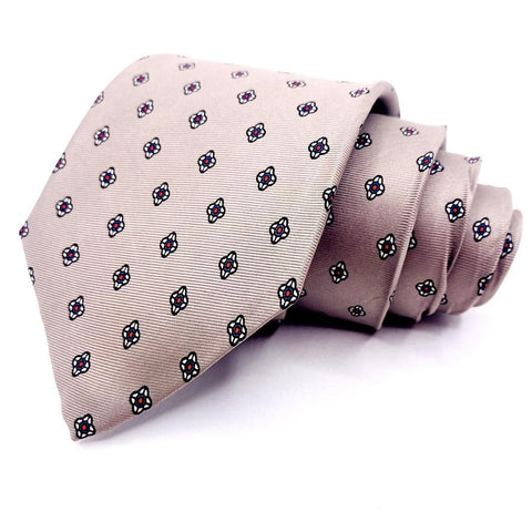 Fleet's Tie Silk Gray Geometric Pattern