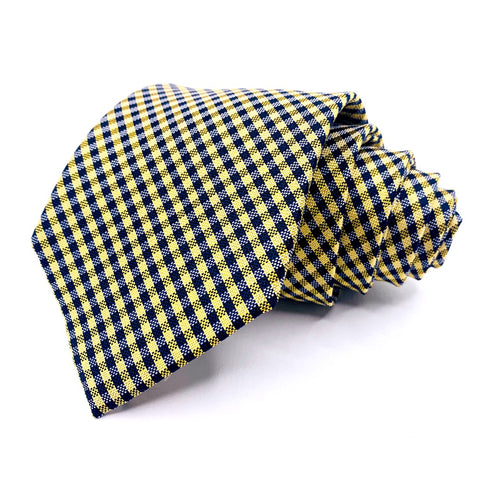 Tommy Hilfiger Tie Yellow/Blue Plaids and Checks Pattern