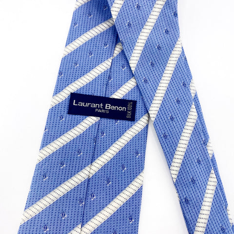 Laurant Benon Tie Silk Blue Striped Pattern