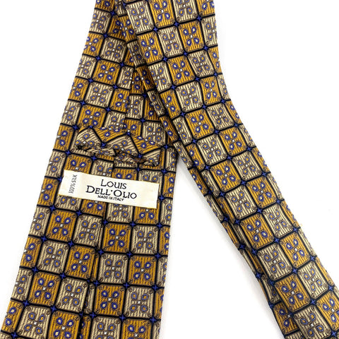 Louis Dell'Olio Tie Silk Gold Geometric Pattern
