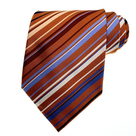 Geoffrey Beene Tie Orange Blue Striped Pattern