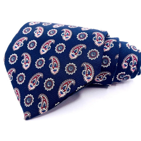 Henry Grethel Tie Blue Paisley Pattern