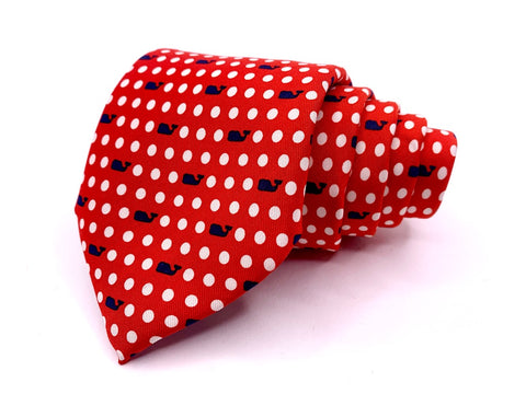 Vineyard Vines Tie Polka Dot Geo Whale Red