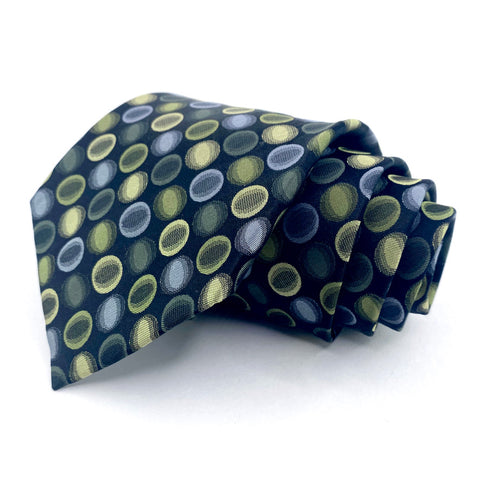 Alfani Tie Black Silk Geometric Pattern