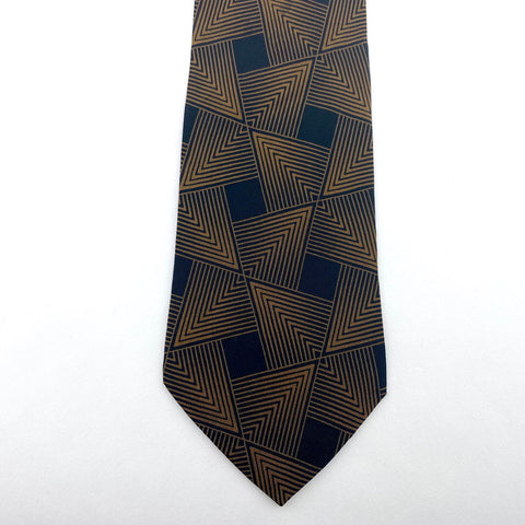 Lord & Taylor Tie Brown/Black Silk Geometric Pattern
