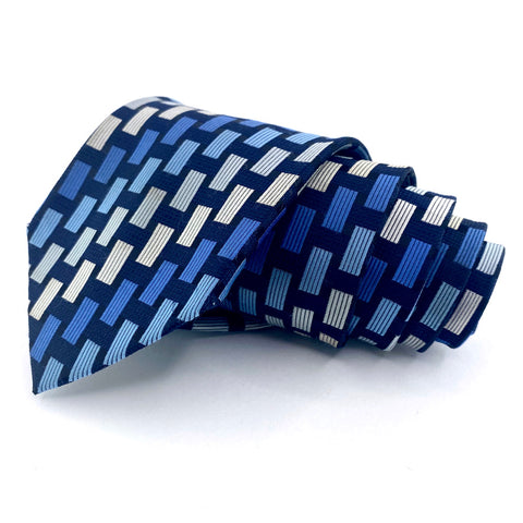 Croft & Barrow Tie Silk Blue Geometric Pattern