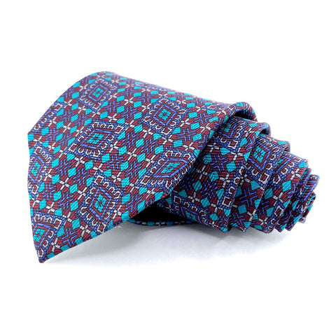 Ferrell Reed Tie Silk Blue/Red Geometric Pattern