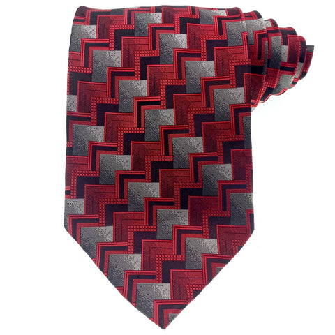 Renzo Tie Silk Red Geometric Pattern