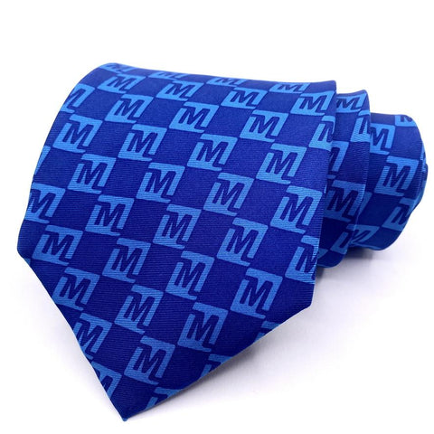 Anthony Tie Silk Blue Geometric Pattern