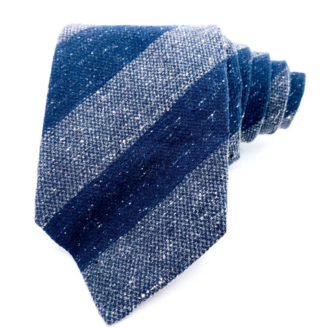 ISAIA Tie Silk Blue Striped Pattern