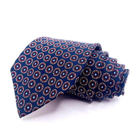 Designer Collection Tie Blue Silk Geometric Pattern