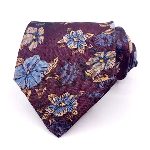Manhattan Tie Silk Wine Floral Pattern