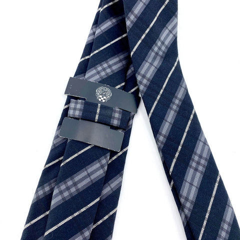 Vince Camuto Tie Blue Silk/Wool Blend Tartan Pattern