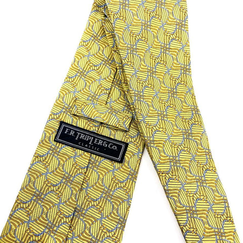 F.R. Tripler & Co. Tie Gold Silk Abstract Pattern