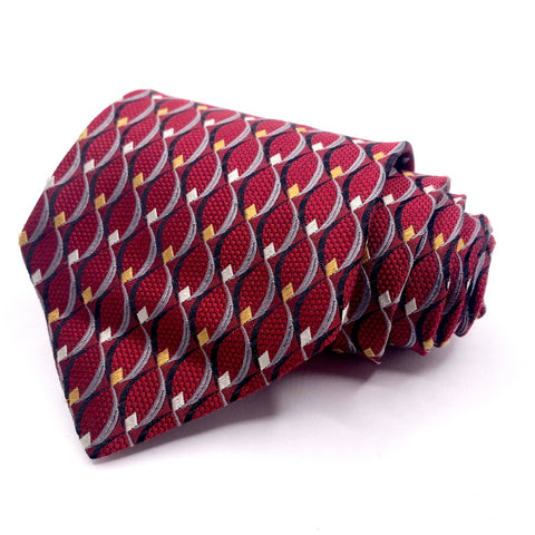 Pronto Uomo Tie Silk Red Geometric Pattern