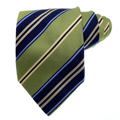 Fratelli Moda Tie Silk Blue Gold Striped Pattern