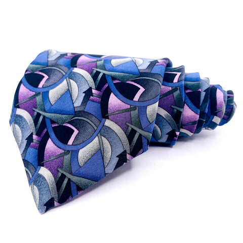 J. Garcia Tie Silk Purple Geometric Pattern