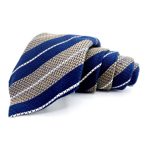 Ceasar Attolini Tie Silk Beige Blue Striped Pattern