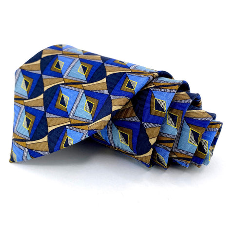 Stafford Tie Blue Silk Geometric Pattern