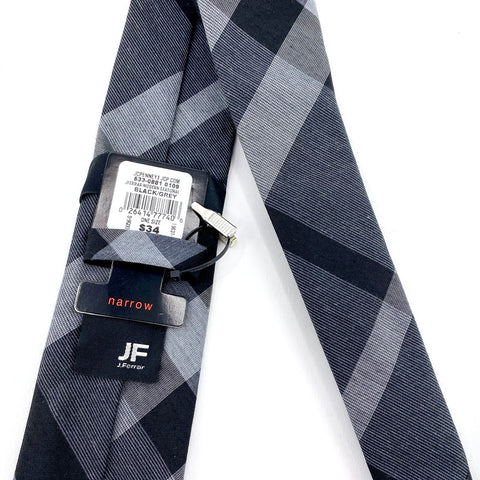 J. Ferrar Tie Black/Gray Narrow Graphic Pattern With Tie Clip