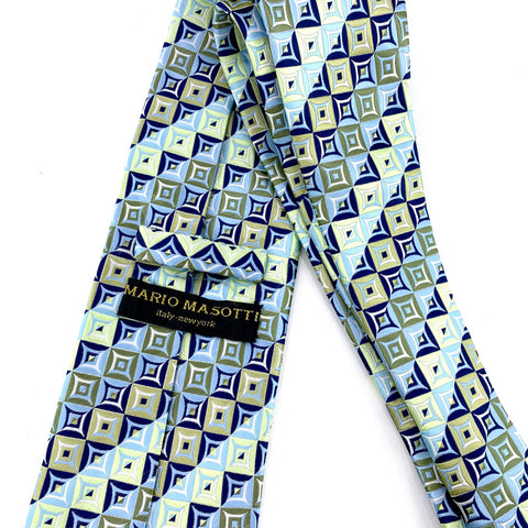 Mario Masotti Tie Silk Multi-Color Geometric Pattern