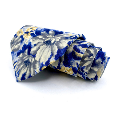 Cambridge Classics Tie Silk Blue Yellow Floral Pattern