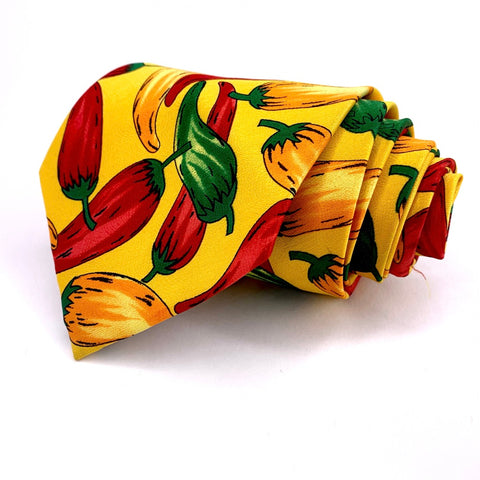 Tie, Mania Tie Yellow Novelty Pattern