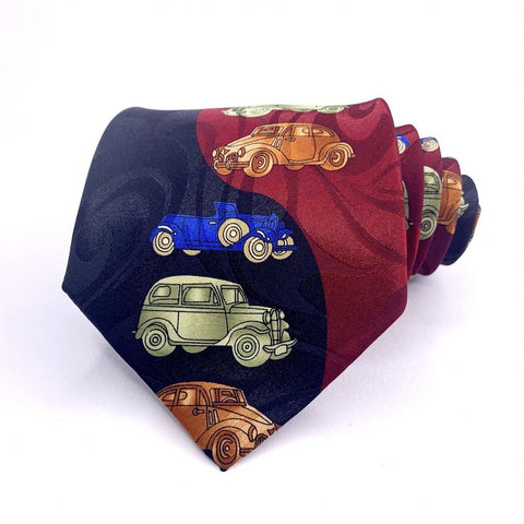 Fratello Tie Multi-Color Cool Cars Pattern