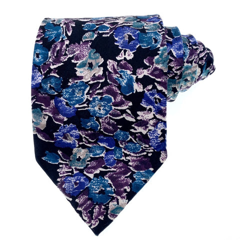 Stanley Blacker Tie Silk Blue Black Floral Pattern
