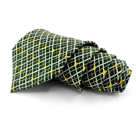 Laurant Benon Tie Silk Green Window Pane Pattern