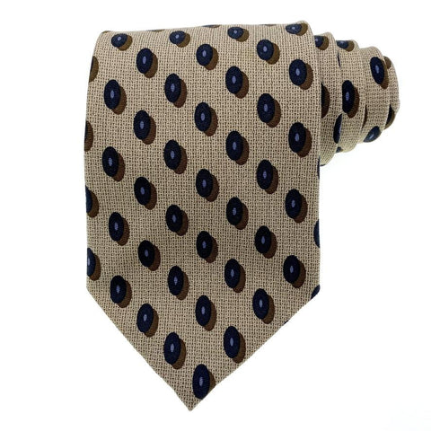 Club Room Tie Silk Beige Geometric Pattern