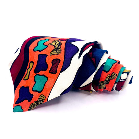 Scenaro Tie Multi-Color Abstract Pattern