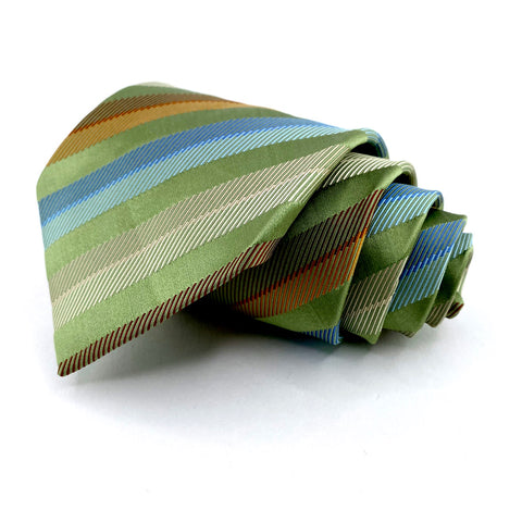 BCBG Attitude Tie Green Silk Striped Pattern