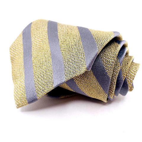 Donna Karen Tie Gold Silver Striped Pattern