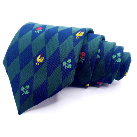 Hortex Tie Blue Green Geometric Pattern