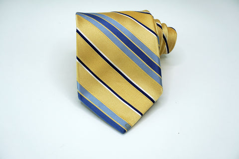 Michael Kors All Silk Yellow/Blue Striped Neck Tie Classic Witdth Michael Kors Ties