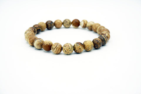 Natural Stone Bead Bracelet Stretch Browns Matte Stone Funky Lizard Bracelets