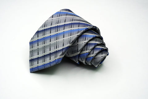 Alfani Silk Blue / Gray Plaids and Checks Pattern Ties Alfani
