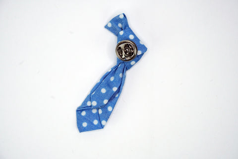 Lapel Necktie Pin Blue / White Polka Dots Funky Lizard Brooches
