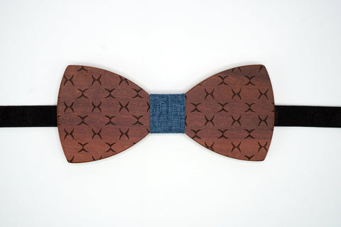 "Bow Tie Wood with Adjustable 19"" Band Dark Wood Geometric Pattern The Mahoosive Bow Ties"