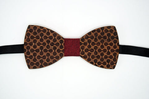"Bow Tie Wood with Adjustable 19"" Band Geometric Pattern The Mahoosive Bow Ties"