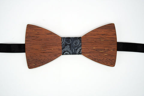"Bow Tie Wood with Adjustable 19"" Band Wood Grain Pattern Paisley Knot The Mahoosive Bow Ties"
